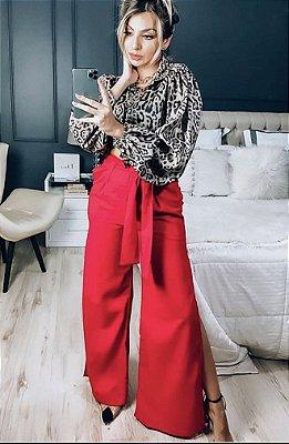Calça pantalona de linho com faixa na cintura - Vermelha