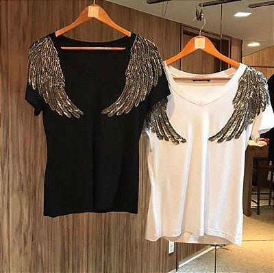 T-shirt bordada à mão - Wings asa maior