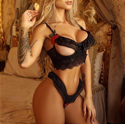 Conjunto de lingerie Sexy appel  Versalhes - Preto