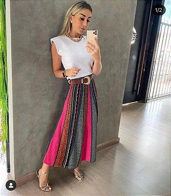 Saia em tricot modal multicolor