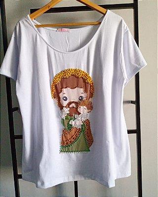 T-shirt - Santo Antonio - bordada à mão