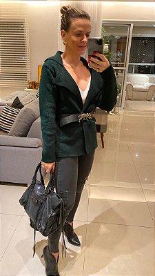 Blazer em tricot modal verde musgo