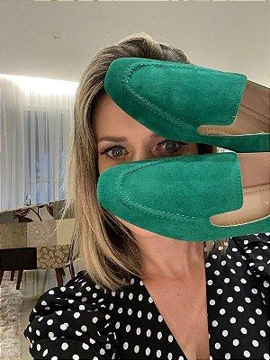 Loafer em nobuck verde bandeira