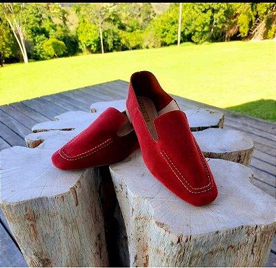 Loafer em nobuck vermelho