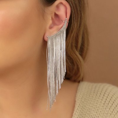 Maxi brinco maravilhoso franja em ródio branco semi jóia