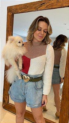 Blusa em tricot com 3 cores divas