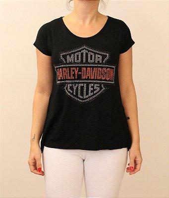 Tshirt Harley Davidson em aplicações de tachinhas