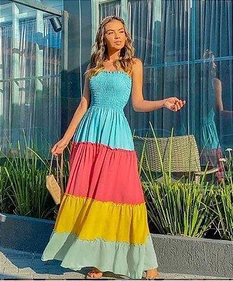 Vestido Longo Color com Elastex