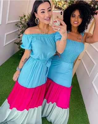 Vestido longo colors blue+pink+green com elastex