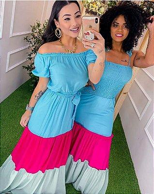 Vestido longo colors blue+pink+green com elastex