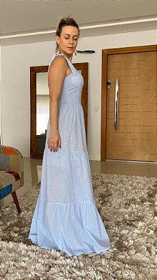 Vestido Longo estampa Mini Vichy Azul com Elastex