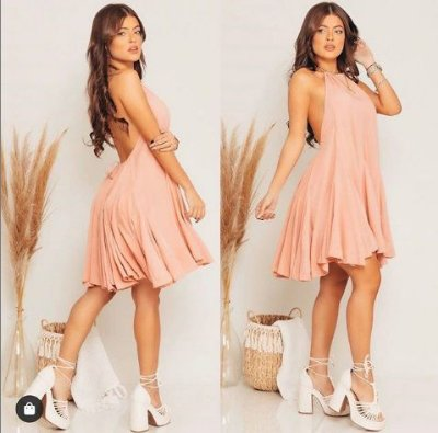 Vestido Curto Frente Única - Rosé