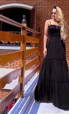 Vestido Longo com Lastex - Preto