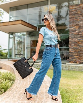 Calça Jeans Reta cintura alta