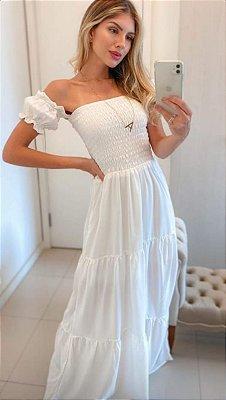 Vestido ciganinha elastex branco