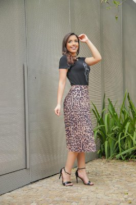 Saia plissada animal print