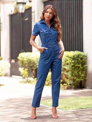 Macacão jeans manga curta maravilhoso