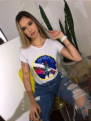 T-shirt branca bordada à mão na cor branca - Nasa