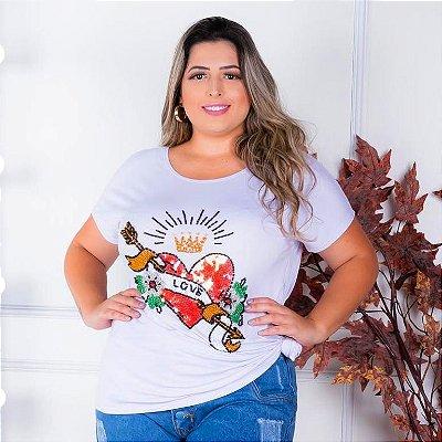 T-shirt  bordada à mão até o tamanho Plus Size na cor branco - Love