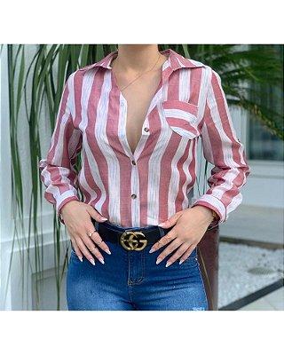 Camisa feminina em linho listrada rose