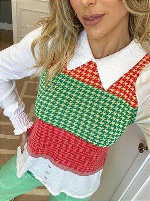 Blusa em tricot faixa colors com gola e manga longa branca