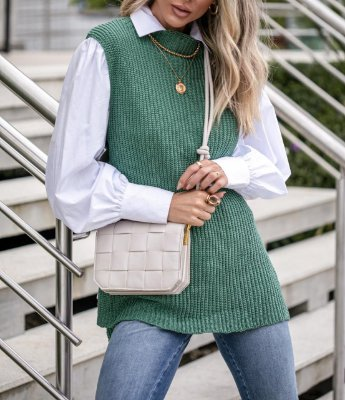 Colete em tricot na cor verde