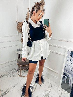 Camisa em viscolinho  manga longa branca