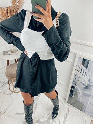 Camisa em viscolinho manga longa preta