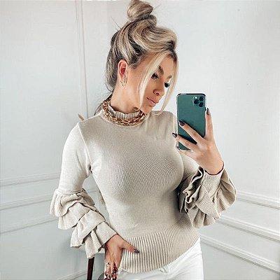 Blusa babadão em tricot modal bege