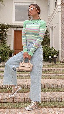Blusa em tricot modal listrada