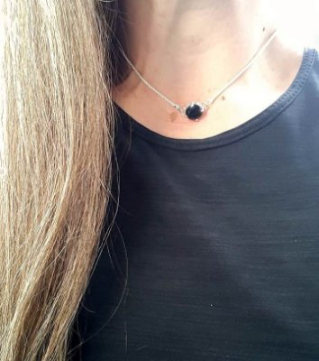 COLAR CHOCKER PONTO BLACK 10MM