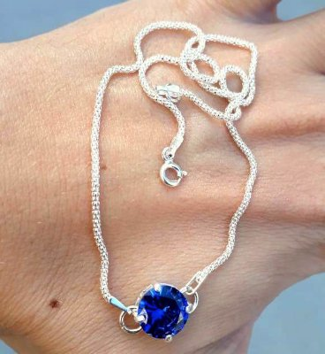 COLAR CHOCKER PONTO AZUL SAFIRA 10MM