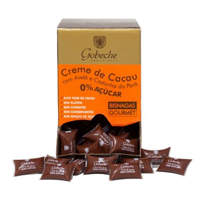 Creme de Cacau Zero Açúcar com Avelã e Castanha do Pará - Display 2kg com100 unid.  20g
