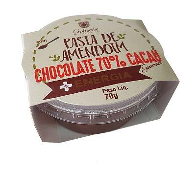 PASTA DE AMENDOIM COM CHOCOLATE 70% CACAU E MEL- 70g