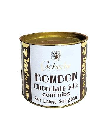 Lata de Bombons Chocolate 54% Cacau Sem lactose com Nibs - 10 bombons 12g
