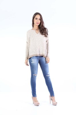 BLUSA TRICO CASUAL - BEGE