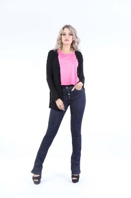 CARDIGAN ALONGADO CASUAL - PRETO