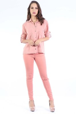 CALÇA MID SKINNY COLOR - BLUSH