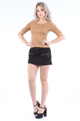 SAIA REGULAR SKIRT ZIPER - PRETO