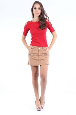 SAIA REGULAR SKIRT ZIPER - BEGE
