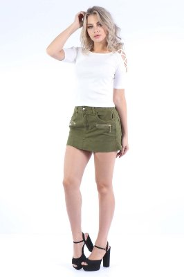 SAIA REGULAR SKIRT ZIPER - VERDE MILITAR