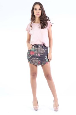 SAIA SKIRT BEAKED ESTAMPADA - BLACK GARDEN