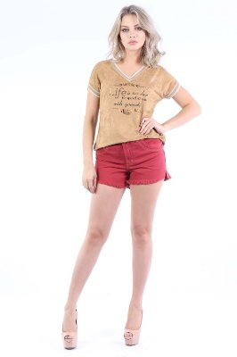 SHORTS HOT PANTS COLOR - BORDO
