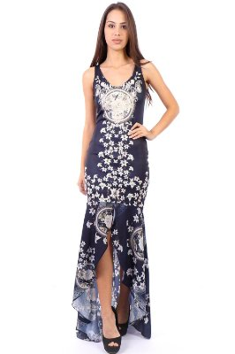 Vestido Longo Bana Bana com Fenda Azul Marinho