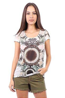 T-shirt Bana Bana Estampada de Tule Bege