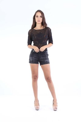 CROPPED HAPPY HOUR TULE BORDADO JEANS - PRETO