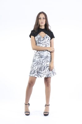 VESTIDO HAPPY HOUR COM GOLA - BLACK LEAVES