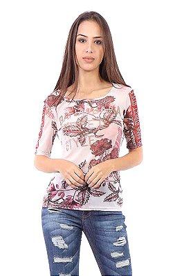 T-shirt Bana Bana Estampada de Tule Bordô