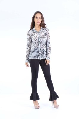 CAMISA CASUAL TULE ALONGADA - BLACK LEAVES