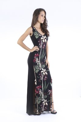 VESTIDO HAPPY HOUR LONGO - TERRAL FLOWERS PRETO